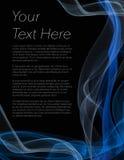 Pamflet, affiche of vlieger met zwart gekleurde achtergrond en blauw Stock Afbeeldingen