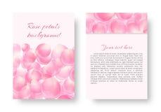 Pamfletmalplaatje met dalende bloemblaadjes Stock Fotografie