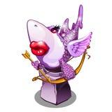 Pamiątka w postaci rekinu w miłości, inspirowanej miłością, odizolowywającą na białym tle Posążek w postaci Obrazy Royalty Free