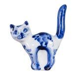 Pamiątkarska porcelana glazurował i dekorował z malującym Gzhel Zdjęcia Royalty Free