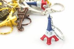 Pamiątkarski kluczowy łańcuch mini wieży eifla wycieczka turysyczna Eiffel Fotografia Stock