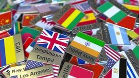 Pamiątkarski magnes lub odznaka z losu angeles Paz flagą państowową wśród różnych ones i tekstem Podróżować Boliwia konceptualny  zbiory