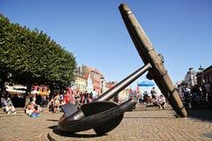 Pamiątkowa kotwica przy Nyhavn, Kopenhaga zdjęcie stock