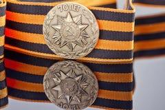 Pamiątkowa odznaka wydająca 70 rocznica zwycięstwo Fotografia Royalty Free