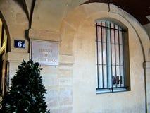 Pamiątkowej plakiety mieszkanie Victor Hugo w Paryż Zdjęcia Royalty Free