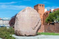 Pamiątkowy kamień w miejscu domu w którym żył w rok 1879-1882 Maria Konopnicka zdjęcie stock