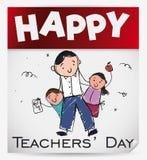 Pamiątkowy liścia kalendarz z Ślicznymi Doodles dla nauczyciela ` dnia, Wektorowa ilustracja royalty ilustracja