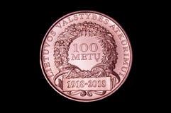 Pamiątkowy limitowany mintage groszaka medal 100 rok dla Lithuania zdjęcie royalty free