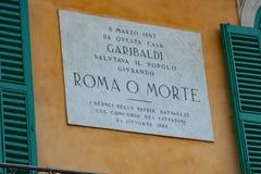 Pamiątkowy panel Giuseppe Garibaldi fotografia stock