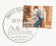 Pamiątkowy Postmark na kopercie i znaczku zdjęcia royalty free