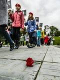 Pamiątkowy wiec jako część odbudowy bitwa wojna światowa 2 blisko Moskwa zdjęcie stock