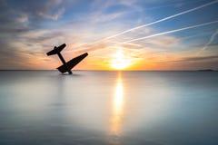 Pamiątkowy zabytek rozbijał Sprzymierzoną lotnik drugą wojnę światową i zabił zdjęcia royalty free