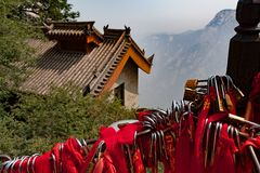 Pamięć kędziorki na świętej Huashan górze Chiny obraz stock