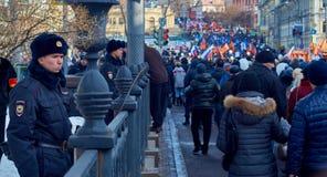 Pamięć marsz zabijający polityk Boris Nemtsov Zdjęcia Stock