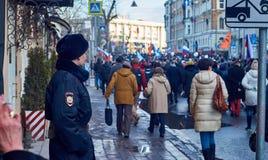 Pamięć marsz zabijający polityk Boris Nemtsov Zdjęcia Royalty Free