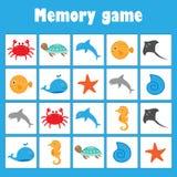 Pamięci gra z obrazka oceanu zwierzętami dla dzieci, zabawy edukacji gra dla dzieciaków, preschool aktywność, zadanie dla rozwoju royalty ilustracja