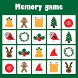 Pamięci gra z obrazkami - boże narodzenie temat dla dzieci, xmas zabawy edukacji gra dla dzieciaków, preschool aktywność, zadanie ilustracja wektor