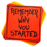 Pamięta dlaczego ty zaczynałeś notatkę Obrazy Stock