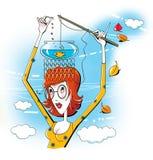 Pamięta wszystko Młoda kobieta z szkło chwytów połowu prącia rybą w akwarium który stoi na swój głowie, ilustracja wektor