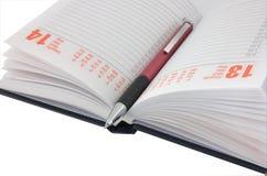 pamiętnik otwarte długopis Fotografia Royalty Free