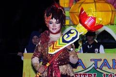 Pamiątkowa parada Eid 1 Syawal H Nganjuk 1435 miasto, Wschodni Jawa, Ind Obraz Stock