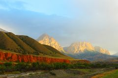 The Pamir highway. Kyrgyzstan. Mountain landscape stock images