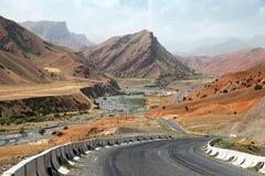 Pamir highway pamirskij trakt. Landscape around Pamir highway M41 international road in Kyrgyzstan, roof of the world. Pamir highway or pamirskij trakt royalty free stock photos