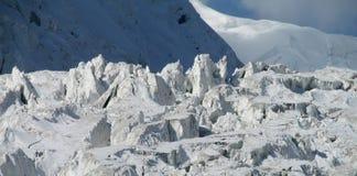 Pamir mountain glacier. Pamir high mountains glacier in Kirgyzstan, Middle Asia. Mountaineereng, hiking and climbing Pik Lenin Royalty Free Stock Photos