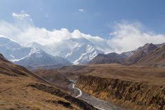 Pamir Mountain Range and Pik Lenin, Kyrgyzstan Stock Images
