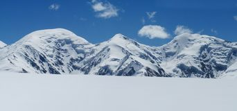 Pamir mountains cold snow ice glacier long panorama stock images