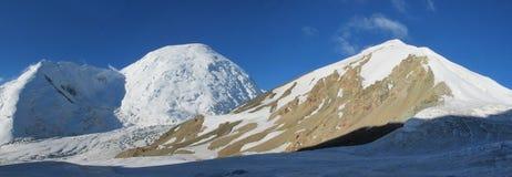 Pamir mountains cold snow ice glacier long panorama stock photos
