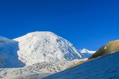 Pamir mountains cold white snow ice glacier royalty free stock images