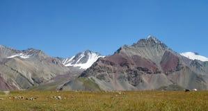 Pamir mountains. Pamir high mountains in Kirgyzstan, Middle Asia. Mountaineereng, hiking and climbing Pik Lenin Stock Photography