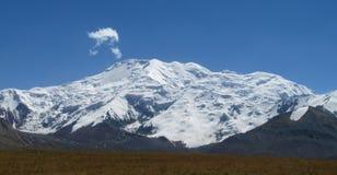 Pamir mountains snow peaks long panorama stock photo