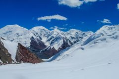 Pamir mountains cold white snow ice glacier royalty free stock photography
