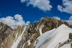 Pamir mountains snow peaks. Panorama Kyrgyzstan close to Lenin Peak base camp royalty free stock photos