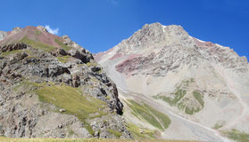 Pamir, Pik Lenin trek. Pamir high mountains glacier in Kirgyzstan, Middle Asia. Mountaineereng, hiking and climbing Pik Lenin Royalty Free Stock Photo