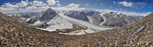 Pamir in Tajikistan. Scenic panorama of Fedchenko glacier in Pamir mountains in Tajikistan Stock Images