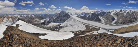 Pamir in Tajikistan. Scenic panorama of Fedchenko glacier in Pamir mountains in Tajikistan Royalty Free Stock Photography