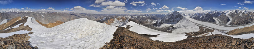 Pamir in Tajikistan. Scenic panorama of Pamir mountains in Tajikistan Stock Photo