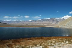 Pamirs altiplano lake Stock Image