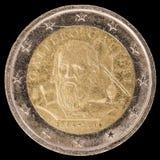 Pamiątkowy dwa euro menniczego wypuszczony Włochy w 2014 i commemor Zdjęcie Royalty Free