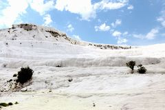 Pammukale. The travertines of calcium. Hierapolis archaeology Museum. The Turkish UNESCO World Heritage Site. Turkish resort, the. Unique thermal water rich in Royalty Free Stock Photography