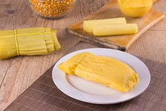 Pamonha Brasilianischer Mais-Snack lizenzfreies stockbild