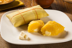 Pamonha und Curau karren den Verkauf - typisches Lebensmittel des Grünkerns - geschmackvoll stockbild