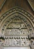Pamoplona Door. St. Mary's door of Pamplona Cathedral, Spain stock images