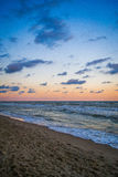 Pamorama of beautiful seascape. Nature composition. Evening sky with contrast colour clouds Stock Photos