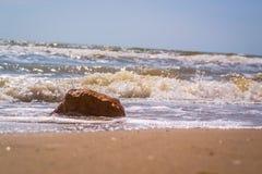Pamorama of beautiful seascape. Rock on beach near the water Royalty Free Stock Photos