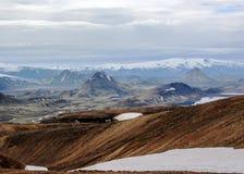 View on Alftavatn lake, glaciers, volcanoes, desert and mountains, Laugavegur trail, near Landmannalaugar, Fjallabak Nature royalty free stock photo