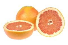 Pampelmusensatz Tropische Zitrusfrucht und runde Scheibe lokalisiert auf weißem Hintergrund Stockfoto